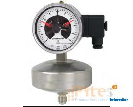 Model 632.51+8xx Capsule pressure gauge With switch contacts, stainless steel series, high overpress