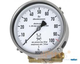 Models 712.15.160, 732.15.160 Differential pressure gauge Cu-alloy or stainless steel version